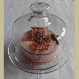 Brocante glazen stolpje met onderbordje