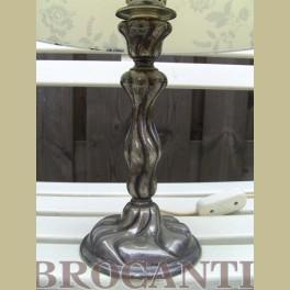 Brocante verzilverde lampenvoet