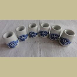 6 Brocante mini kandelaartjes met blauwe roosjes