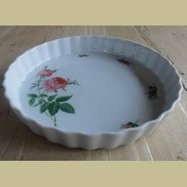Landelijke quiche schaal met roze rozen, Christine Holm