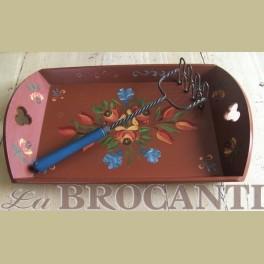 Landelijke houten hand beschilderd dienblad met bloemen
