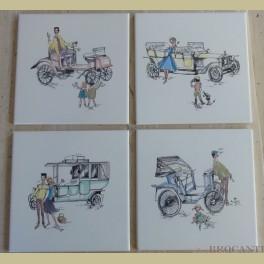 4 Retro pastel tegels oldtimers, stelletje en kinderen