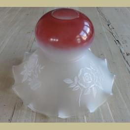 Brocante glazen lampenkap met witte bloemen