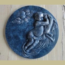 Wanddecoratie engelen, blauw zilver