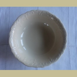 Brocante creme schaal met prachtig versierde rand