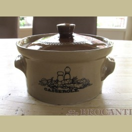 Brocante Engelse Pearsons steengoed casserole