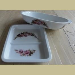 Brocante vakken schaal met roze roosjes, Royal Schwabap