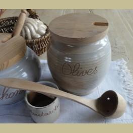 Landelijke Franse gres olijven pot met lepel , Gres du Marais