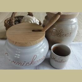 Landelijk Franse gres augurken pot met lepel, Gres du Marais