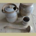Landelijke Franse gres augurken pot met lepel , Gres du Marais