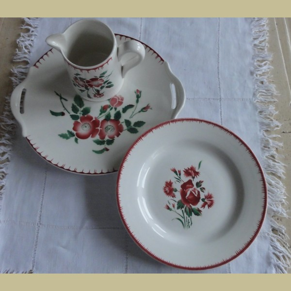 Frans brocante diner bord sarreguemines digoin bouquet for Bouquet fleuri