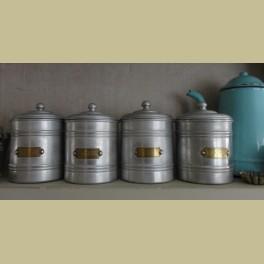 4 Franse brocante aluminium voorraadpotten