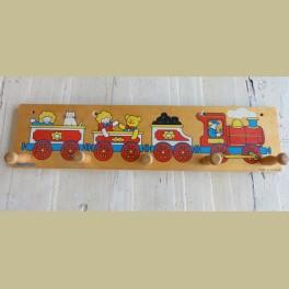 Vintage houten kinder kapstokje met treintje, Simplex