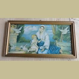 Oud brocante ingelijste prent, Maria met kind en duiven