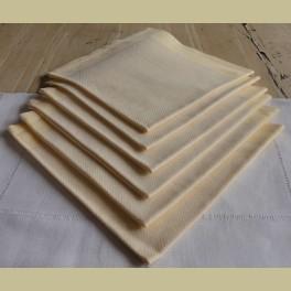 6 oude brocante pastel gele servetten