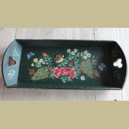 Assendelfter dienblad beschilderd met druiven, vogeltje, vlinders en bloemen