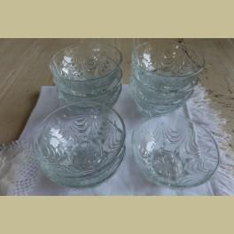 9 Brocante glazen dessert schaaltjes