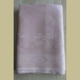 Oud roze brocante tafelkleed met strikken, guirlandes