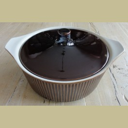 Bruine retro ovenschaal Villeroy & Boch met deksel