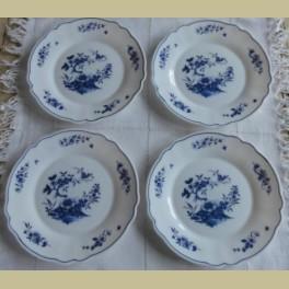 4 Vintage Arcopal Kalinka ontbijtbordjes met blauwe bloemen