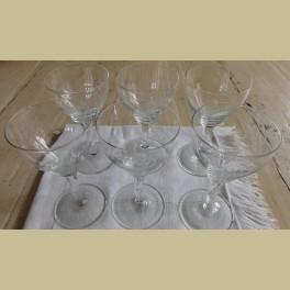 6 oude geslepen port / likeur glazen met korenaar