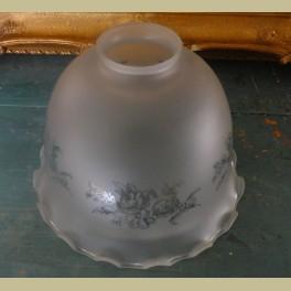 Brocante mat glazen lampenkapje met roosjes