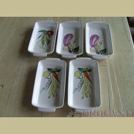 5 Villeroy en Boch schaaltjes met groente afbeeldingen