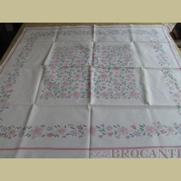 Brocante tafelkleedje roze bloemetjes