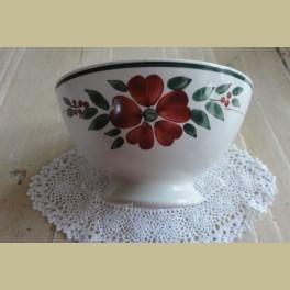 Oude Franse spoelkom met bloemen