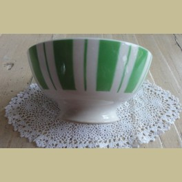 Franse brocante spoelkom met groene strepen