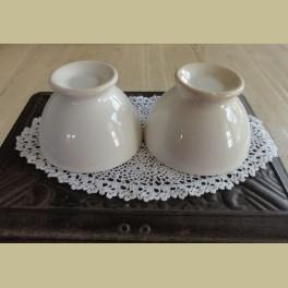 2 brocante off white spoelkommetjes, 8,5 cm