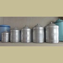 5 Franse brocante aluminium voorraadpotten