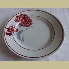 Frans brocante ontbijtbordje, bordeaux rode bloemen, Badonviller André