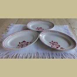 3 Franse brocante ovale schaaltjes met bordeaux rode bloemen