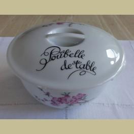 Franse POUBELLE DE TABLE met roze bloemetjes, tafel afvalbakje