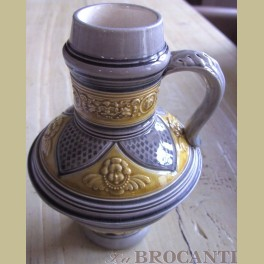 Antieke Franse bewerkte bier pul / kan Majolica