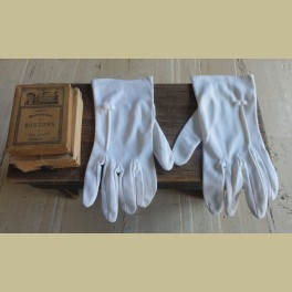 Witte Franse brocante dames handschoentjes met strikje