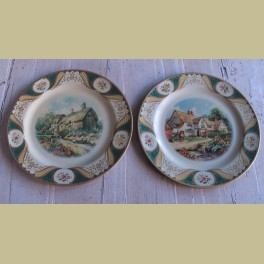 2 Engelse vintage blikken borden, Cottage garden & Country inn