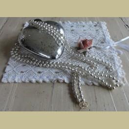 Oude kerstslinger met zilverkleurige glazen balletjes , 1.84 mtr