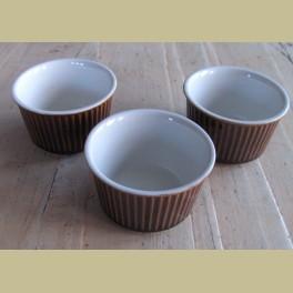 3 Bruine retro souffle ovenschaaltjes Villeroy & Boch