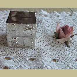 Verzilverde baby spaarpot ABC en dieren