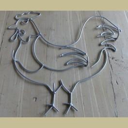 Landelijke kapstok kip, zilverkleurig