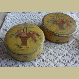 2 oude Franse poederdozen , Houbigant