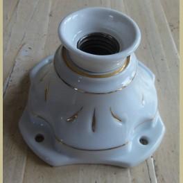 Oude wit porseleinen lamphouder met goud accenten