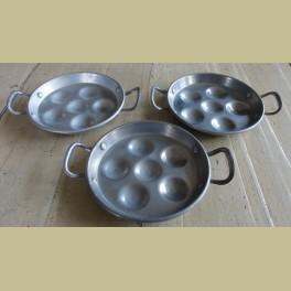 3 Brocante aluminium slakken pannetjes