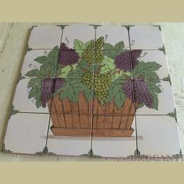 Brocante Franse tegels / tegelplateau druiven