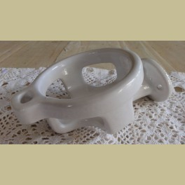 Oude wit porseleinen tandenborstel / beker houder