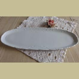 Brocante langwerpige wit porseleinen schaal