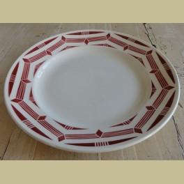 Groot Franse schaal / bord met donker rood motief, Badonviller