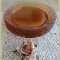 Franse roze glazen ontbijtbordjes, Arcoroc Rosaline